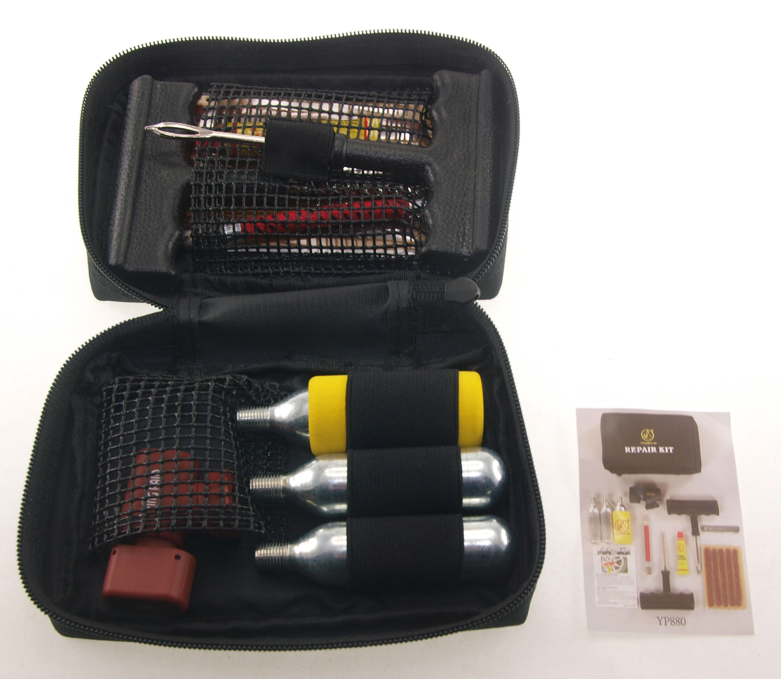 Tyre Repair Kit with CO2 canisters & air regulator